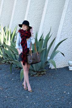 leather shorts plaid scarf felt hat jean jacket and leopard print calf hair heels  seekwandershare.com