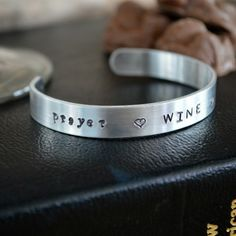 Metal Stamp Cuff Bracelet: Prayer Wine Chocolate – perfect for the faith-filled wine and chocolate lovers! Engraved Catholic Jewelry