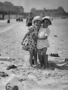 Princess Josephine-Charlotte of Belgium with a friend on the beach at Ostend, Belgium, circa 1932.