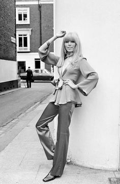 Amanda Lear in Ossie Clark 60s 70s vintage fashion satin pants silk top shirt peplum blouse tie shoes England vintage fashion style