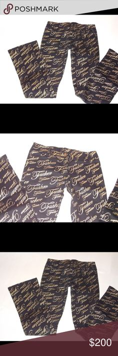 """RARE Lip Service Jeans Fxxker Print Gothic Punk NEVER WORN. These will take the term """"graphic print"""" to the next level. They are fully printed in gold foil on matte black with the cursive (or CURSE-ive) word... they rock in ways I cannot and dare not describe. They WILL NOT be available for  price is firm, and if you want them, buy them ASAP because they WILL go back into storage soon, as will some other lippy pieces. MEASUREMENTS IN COMMENTS. READ AND APPLY.  This is NOT an allergen free…"""