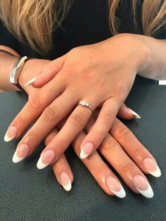 Oval acrylic french manicure