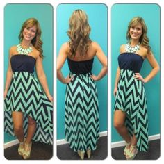 Strapless Chevron print Hi/Low Mint /Navy dress - $55