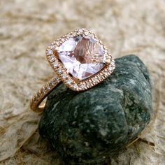 Handmade Antique Cushion Cut Lavender Lilac Rose de France Amethyst Engagement Ring in Rose Gold with Diamonds Size 7 Lilac Roses, Amethyst Gem, Diamond Sizes, How To Make Earrings, Schmuck Design, Custom Jewelry, Handmade Jewelry, Just In Case, Jewelery