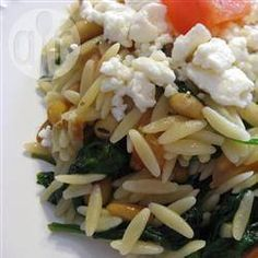 Recipe photo: Orzo Pasta with Wilted Spinach, Feta and Pine Nuts