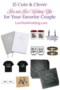 """Looking for some great """"hers and hers gifts"""" to give to your favorite couple? Check out 15 perfect ideas for everything from a fun engagement party gift to a meaningful wedding present! Lesbian Wedding Rings, Lesbian Gifts, Vow Book, Wedding Coasters, Titanium Wedding Rings, Wedding Signs, Wedding Ideas, Engagement Gifts, Couple Gifts"""