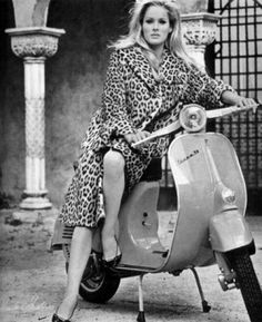 Ursula Andress on a scooter, 1960s. @moto39.it