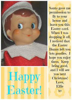 """Free, printable Easter card from """"Elf on the Shelf"""""""