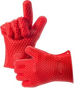 QNDREZ Silicone Oven Mitts Pot Holder BBQ Heat Resistant Grill for Cooking, Baking, Barbeque, Smoking - Heat Resistant (Up to Kitchen Gloves Pot Holder Boiling Oven Gloves (Red) Cooking Shows On Netflix, Dishwashing Gloves, Kitchen Gloves, Grill Oven, Best Oven, Heat Resistant Gloves, Cooking Spaghetti, Fireplace Accessories, Tabletop Accessories