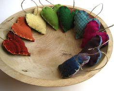 handmade upcycled wool felt hearts / holiday rainbow ornaments | by SewnNatural