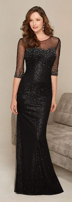Charming Tulle Jewel Neckline Floor-length Mother of the Bride Dresses with Delicate Rhinestones