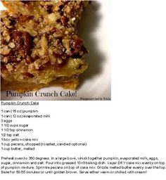 Pumpkin Crunch Cake- Pampered Chef by Tricia https://www.facebook.com/luvz2cook4u/photos/a.296070780521295.66339.295775323884174/407966549331717/?type=1&theater