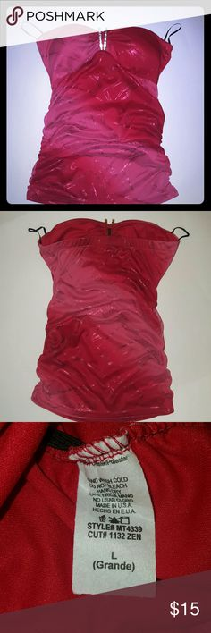 Marshmallow Red dressy blouse Size L Great  condition  only wore 2x  Beautiful  dressy blouse  great to wear with some nice jeans. No stains Coming from a smoke free home marshmallow Tops