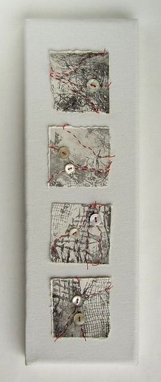 Red thread on collagraph by Helen Smith - Fragments of torn collagraph prints stitched with red thread and vintage shirt buttons.