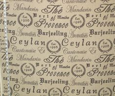 "Tea fabric Provence French document toile black destash- 64"" from Brick House Fabric: Novelty Fabric"
