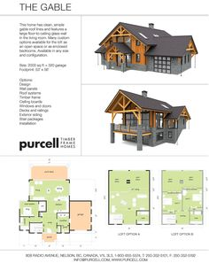 Purcell Timber Frames - Prefab Home Packages - The Gable Home Design Nice overall example of front entry and back covered decks