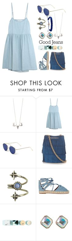 """""""Double Down on Denim"""" by may-calista ❤ liked on Polyvore featuring The Great, Illesteva, Burberry, Ettika, Aquazzura, Korres, Domo Beads, denim, Blue and Denimondenim"""