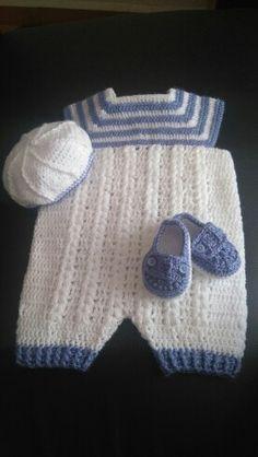 Enterizo para bebe de 0 a 3 meses crochet