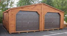 double wide mobile homes log siding | Rustic Double Garage - Log Siding - GardenTimeSheds.com