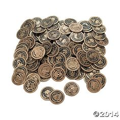 Pirate Coins from Oriental Trading.  144 for $5 These would be fun incentives for kids to earn and then cash in. Cute manipulatives for pirate-themed games too.
