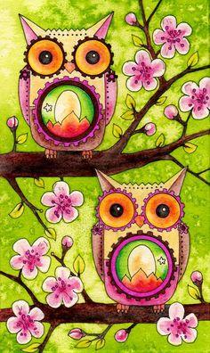 'Joyful Souls' by Amy Weber Owl Art, Bird Art, Owl Illustration, Illustrations, Owl Wallpaper, Owl Always Love You, Wise Owl, Whimsical Art, Art Plastique