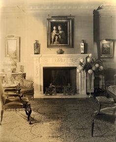 1920s Living Room | In Living Room At Glenallen (1915 1945)A Fireplace