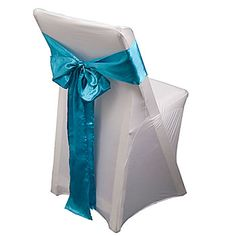 These Light Blue Satin Chair Sashes are an easy way to dress up your chairs! These 6 inch high by 104 inch wide reusable satin fabric sashes wrap chairs in stylish elegance.