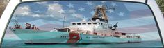US Coast Guard Cutter Pea Island custom sized rear window mural