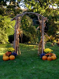 Wicker and Pumpkin Wedding Arbor