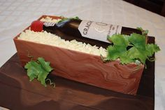 Sugar Sweet Cakes and Treats: Wine Bottle In A Crate Cake Tutorial Mini Tortillas, Wine Bottle Cake, Gift Box Cakes, Inside Cake, Dad Cake, Wafer Paper Flowers, Wine Gift Boxes, Chocolate Shavings, Cake Decorating Tutorials