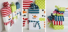 Creative Christmas Gift Wraps - Snowman Candy Bar Wrappers but you could do this with tie boxes, etc.