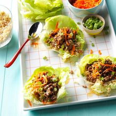 Orange Beef Lettuce Wraps Recipe -This is a lighter version of a restaurant favorite. I also recommend trying these wraps with ground chicken or turkey.—Robin Haas, Cranston, Rhode Island