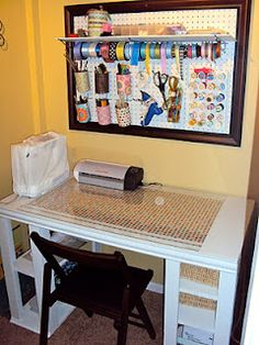 Love the framed pegboard-soup can holders for brushes and scissors
