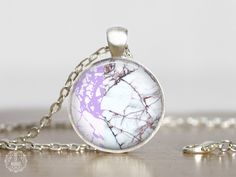 Purple Marble Pendant Necklace   Marble Necklace Marble Jewelry Boho Necklace White Marble Color Block Necklace Pastel Grunge Aesthetic by AgeOfAkuarius on Etsy