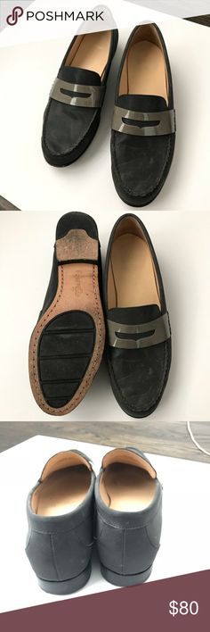 Cole Haan Gray-Black loafers w/ padded soles, sz10 Super comfy classic penny loafers in gray-black coated water friendly material and contrast trim that's slightly reflective. Cole Haan sz10 with padded soles. Hardly worn. Cole Haan Shoes Flats & Loafers