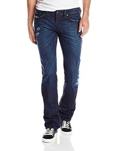 Diesel Men's Safado Regular Slim Straight Leg Jean 0834A, Denim, 36x32. Indigo pre-dyed grey. Variation Attributes: (36W x 32L)Size. Old finish.