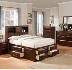 5 Pc Manhattan Collection Espresso Finish Wood Queen Captains Bookcase  Headboard Bedroom Set With Storage Drawers Underneath. This Set Includes  The Queen ...