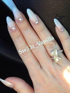 My white Stilleto nails