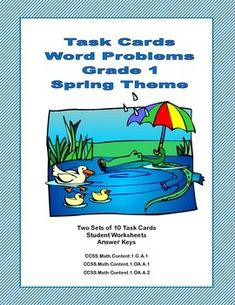 If you're looking for practice in word problems, this is the product for you. This collection has 2 sets of task cards-10 in each set with a fun spring theme.They will make your students think as they solve problems involving adding, subtracting, shapes, money, time, and just plain thinking..
