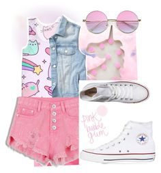 """""""Pink bubble gum 💖"""" by imcute1550 on Polyvore featuring New Look, Pusheen, Gap and Converse"""