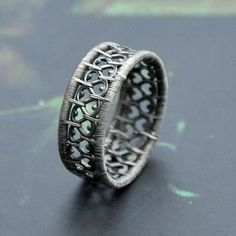 Another version of the lace ring, this time with more beads. Available in my ets… - DIY Jewelry Boho Ideen Wire Jewelry Rings, Wire Jewelry Making, Silver Jewelry Box, Silver Jewellery Indian, Copper Jewelry, Wire Wrapped Jewelry, Diy Jewelry, Silver Ring, Silver Earrings