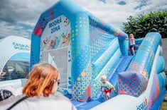 Advertising bounce house, jumping castle, moonwalk with full corporate branding. Inflatable Bounce House, Inflatable Slide, Logo Shapes, Bouncy Castle, Indoor Playground, Corporate Branding, Design Your Own, Playroom, Things That Bounce