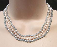 Fine Vintage Estate 3 Strand 7.5mm 8mm Baroque Cultured Pearl Necklace Sterling Clasp Engagement & Wedding
