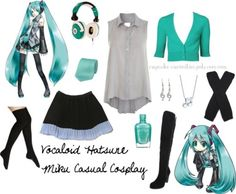 Vocaloid Hatsune Miku Casual Cosplay set. If I dress up like this, I guess I could officially be considered a vocaloid…