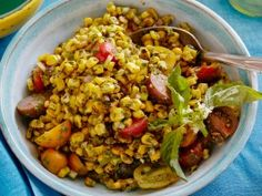 Charred Corn Salad with Basil Vinaigrette from CookingChannelTV.com | Fresh and flavorful for the summer!