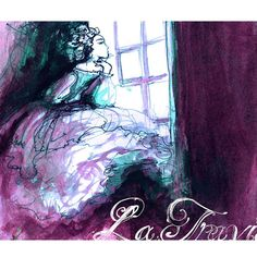 La Traviata art print  violet purple opera by ImmortalLongings  Ink sketch by Elizabeth E. Schuch  www.immortallongings.etsy.com