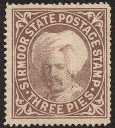 "Sirmoor 1885-88 Scott 3 3p brown ""Raja Sir Shamsher Prakash"""