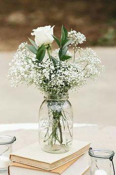 White roses & baby's breath