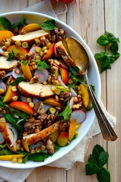 Nectarine Salad with Seared Chicken & Carrot Ginger Dressing Recipe by thewoksoflife.com