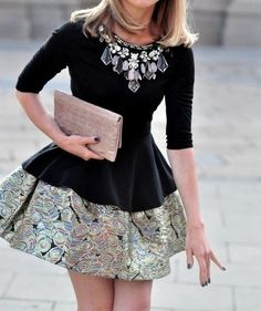 peplum top + bubble skirt. My niece could pull this off.